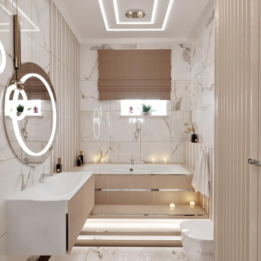 Мраморная ванная в доме.