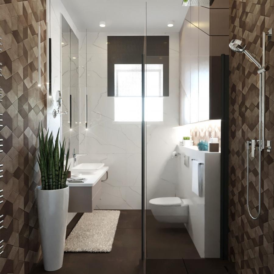 Контраст покрытий в ванной комнате.