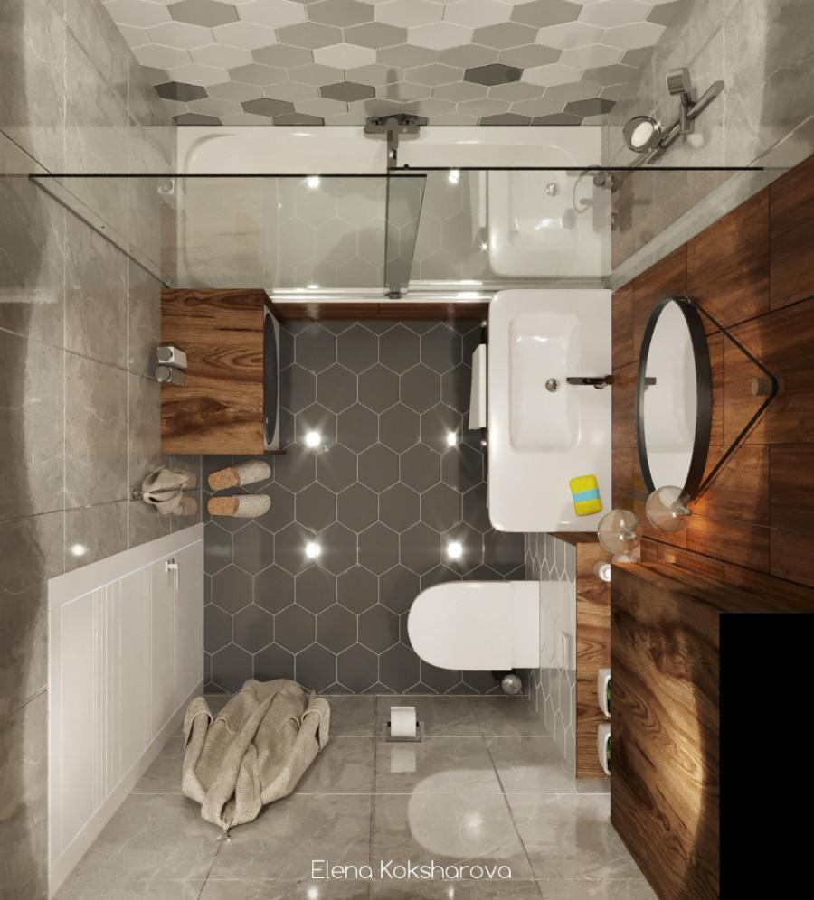 Маленькая ванная 2 варианта с перепланировкой и без.