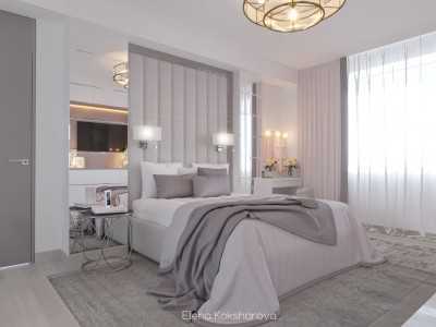 Спальня пудровый и белый.