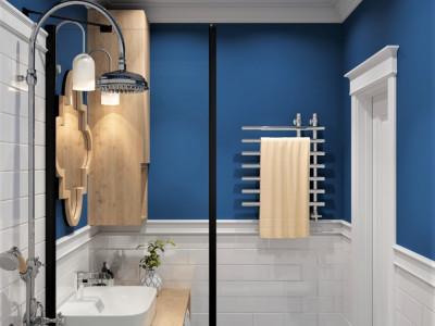 Синяя  ванная комната.
