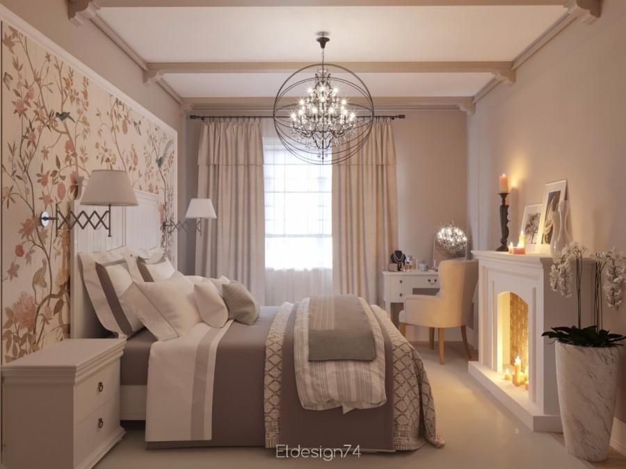 Спальня в пастельных оттенках.