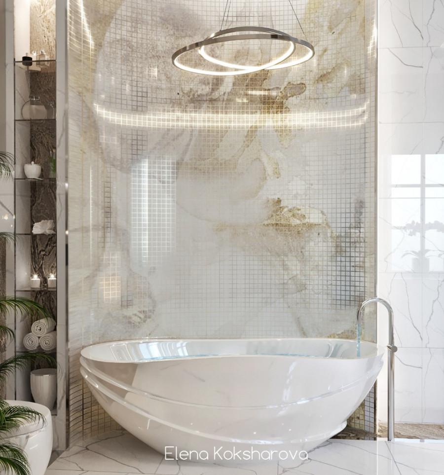 Ванная комната с мозаикой. 2 варианта.